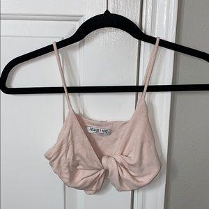 Fashion Nova front tie ribbed crop top light pink